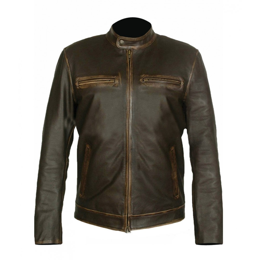 Brown Genuine Distressed Leather Men's Jacket For Sale