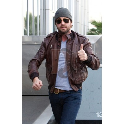 Gerald Butler Distressed Bomber Leather Jacket | Distressed Jackets