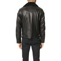 James Dean Removable Collar Leather Jacket | Black Jackets
