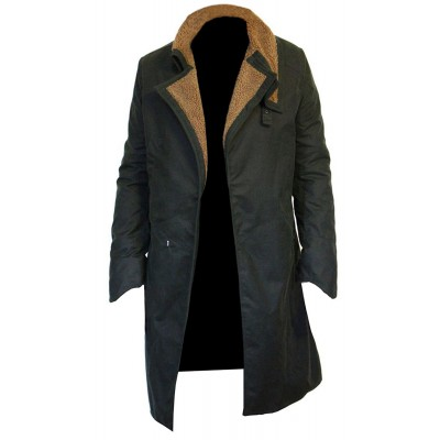 Ryan Gosling Blade Runner 2049 Waxed Cotton Coat | Waxed Cotton Field Coat | Faux Shearling