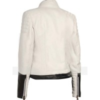 BLACK & WHITE SLIMFIT LEATHER BIKER JACKET | White Jackets