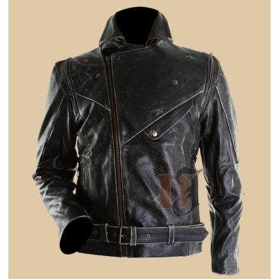 Slim Fit Distressed Black Biker Jacket | Distressed Jackets