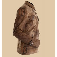 The Expendables 2 Jason Statham Dark Brown Distressed Leather Jacket