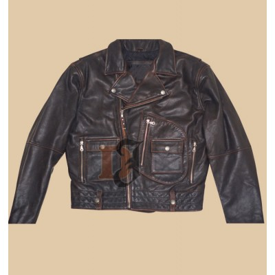 Harley Mens Distressed Vintage Black Leather Jacket | Distressed Black Jackets