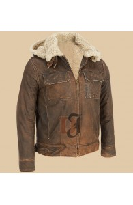 Dark Brown Contrast Faux Fur Hooded Leather Jacket | Dark Brown Jackets