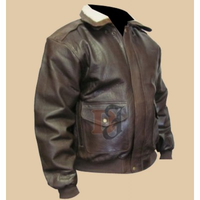 Men's Distressed Brown Bomber Jacket With Fur | Distressed Fur Jacket