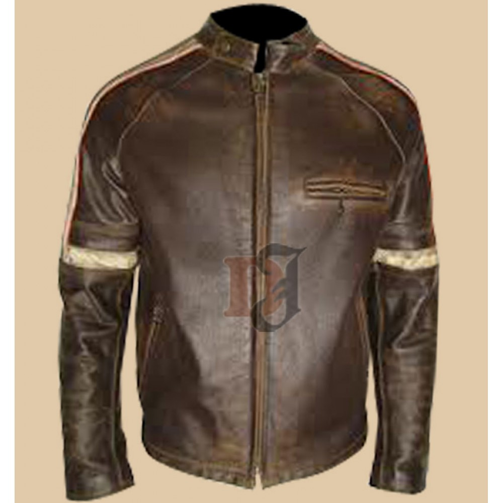 Mens Hero Distressed Brown Leather Jacket Distressed Jacket