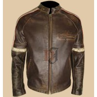 Mens Hero Distressed Brown Leather Jacket | Men's Jackets