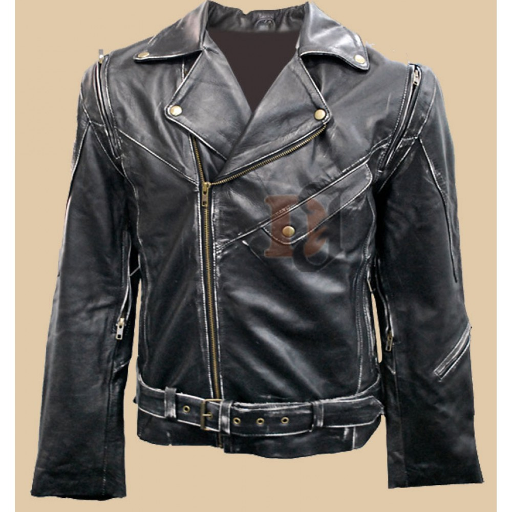 Weathered leather jacket