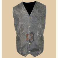 Mens Vulcan NF-8302 Charcoal Leather Vest   Distressed Vests