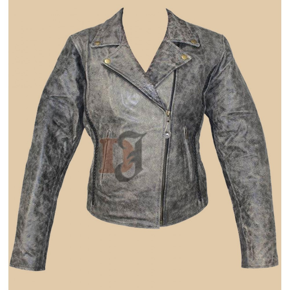 Women Distressed Leather Motorcycle Jacket | Distressed Jackets