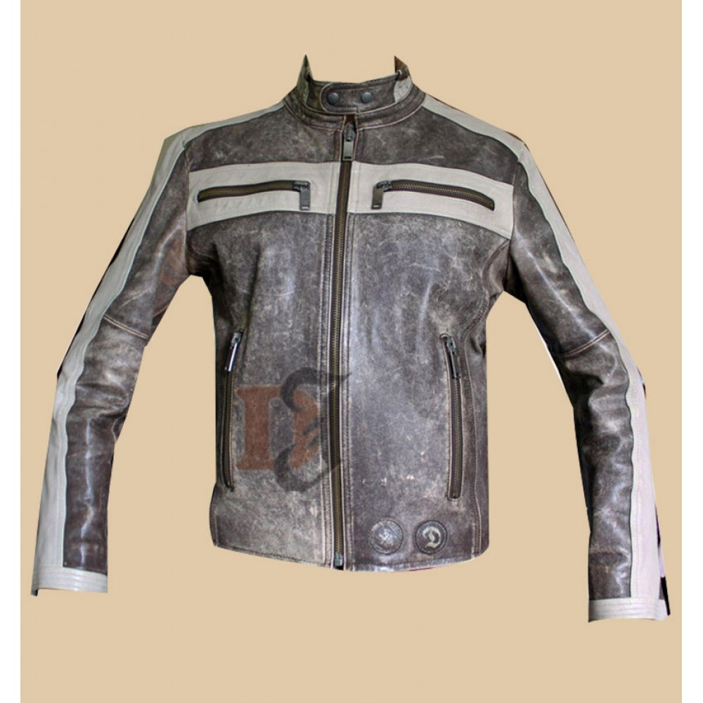 Men's Designer Grey Bomber Biker Distressed Jacket | Grey Jackets