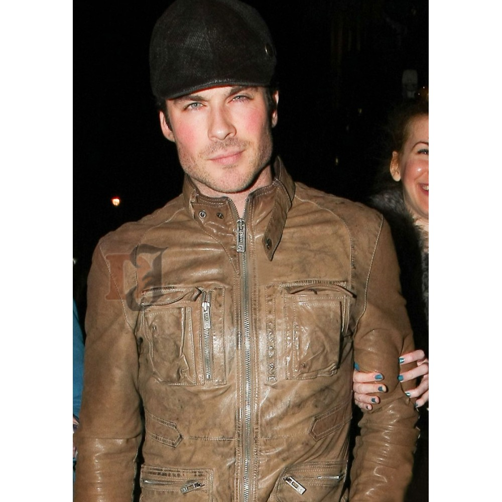 Ian Somerhalder Brown Leather Jacket | Celebrities Jackets For Sale
