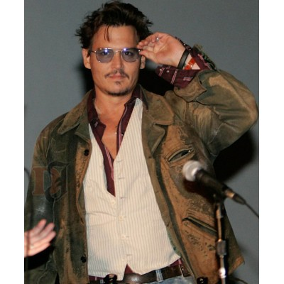 Johnny Depp Green Distressed Jacket Inside | Distressed Green Jacket