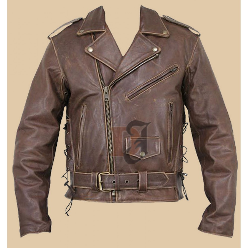 Terminator Distressed Brando Brown Motorcycle Leather Jacket