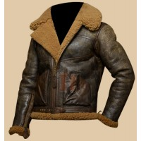 Military Men's Distressed Brown Bomber Jacket | Faux Shearling Leather  Jacket