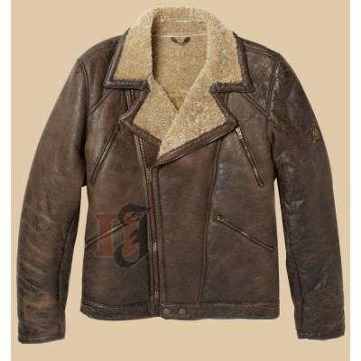 Men's Aviator Bomber Brown Jacket with Faux Shearling  |  Aviator Brown Jacket