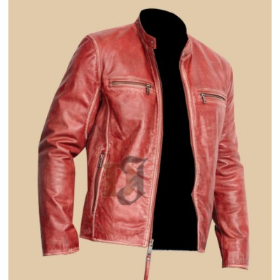 Men's Stylish Slim-Fit Red Distressed Moto Jacket | Distressed Jacket