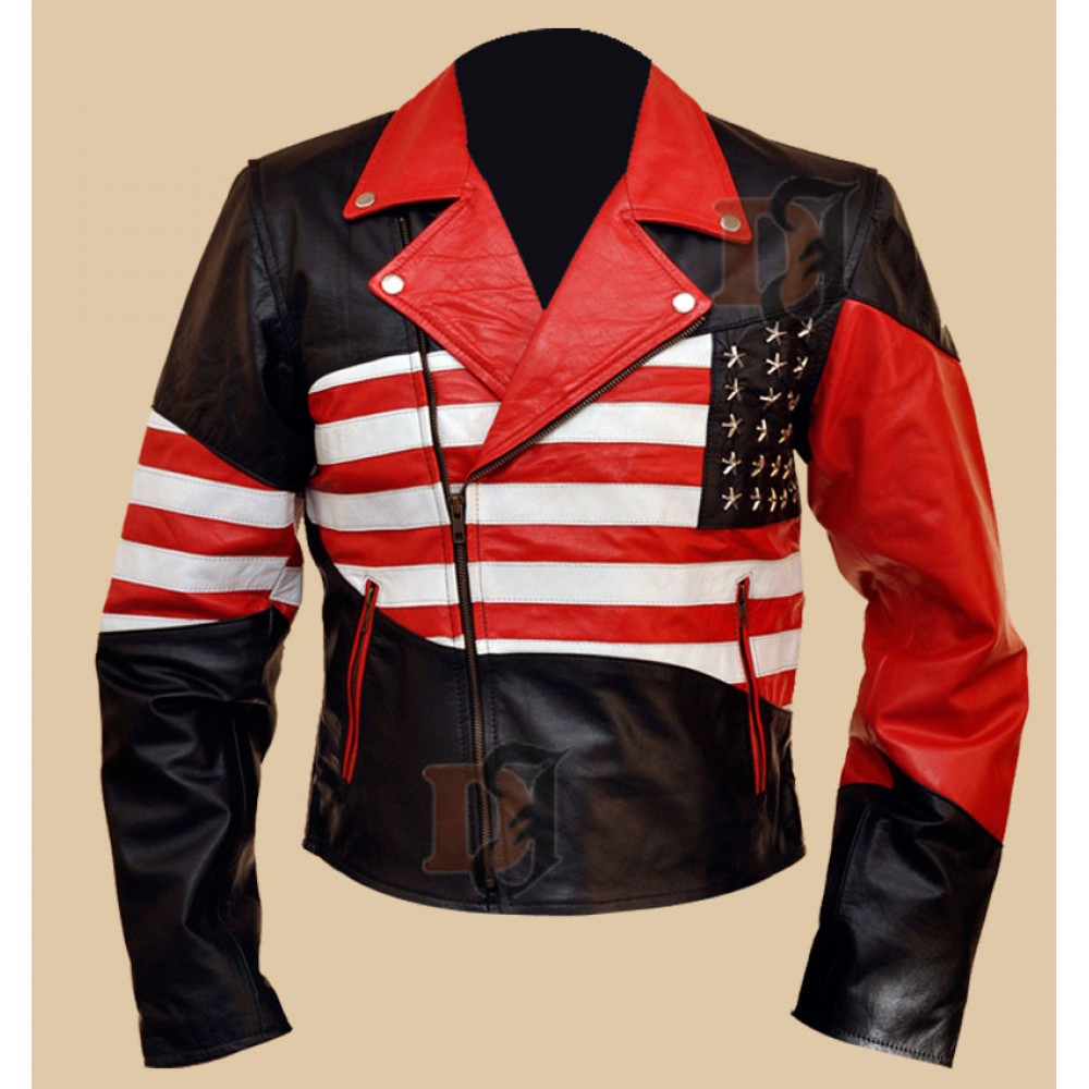 American Flag Jacket | Men's American Flag Biker Leather Jacket | American Jackets