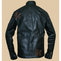 Batman Begins Motorcycle Jacket | Bruce Wayne Black Leather Jacket