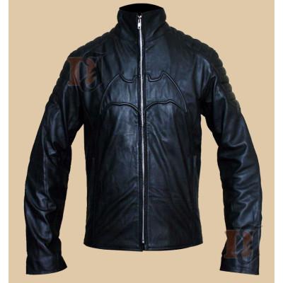Batman Begins Motorcycle Jacket | Bruce Wayne Black Leather Jacket