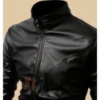 Stylish Cross Front Biker Black Jacket | Black Leather Jacket