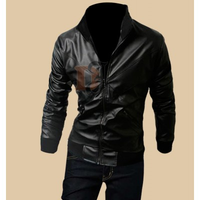 Stylish Cross Front Biker Black Jacket | Black Leather Jacket