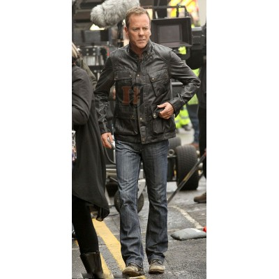 Kiefer Sutherland (Jack Bauer) Black Jacket For Mens | Black Leather Jacket
