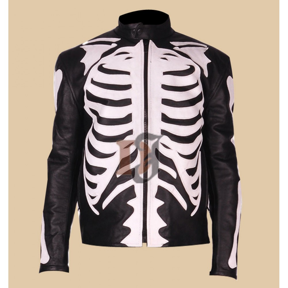 Skeleton Bones Sketch Mens Biker Black Leather Jacket
