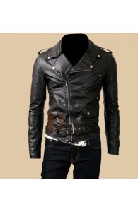 Mens Belted Rider Biker Black Leather Jacket | Slim Fit Jackets