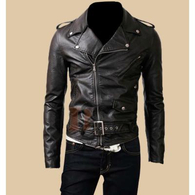 Mens Belted Rider Biker Black Leather Jacket | Slim Fit Jackets