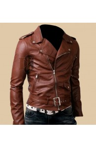 Mens Biker Belted Brown Rider Leather Jacket | Brown Leather Jacket