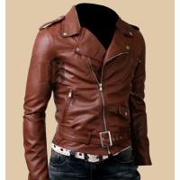 Mens Biker Belted Brown Rider Leather Jacket | Brown Leather Jacket