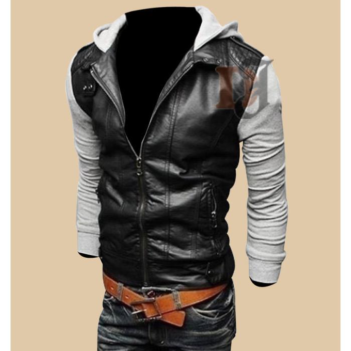 68e9c5e17e5 ... Mens Black Grey Slim Fit Stylish Leather Jacket | Stylish Outfit Jacket