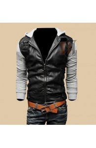 Mens Black Grey Slim Fit Stylish Leather Jacket | Stylish Outfit Jacket