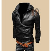 Mens Bomber Biker Style Leather Jacket For Sale | Black Jackets