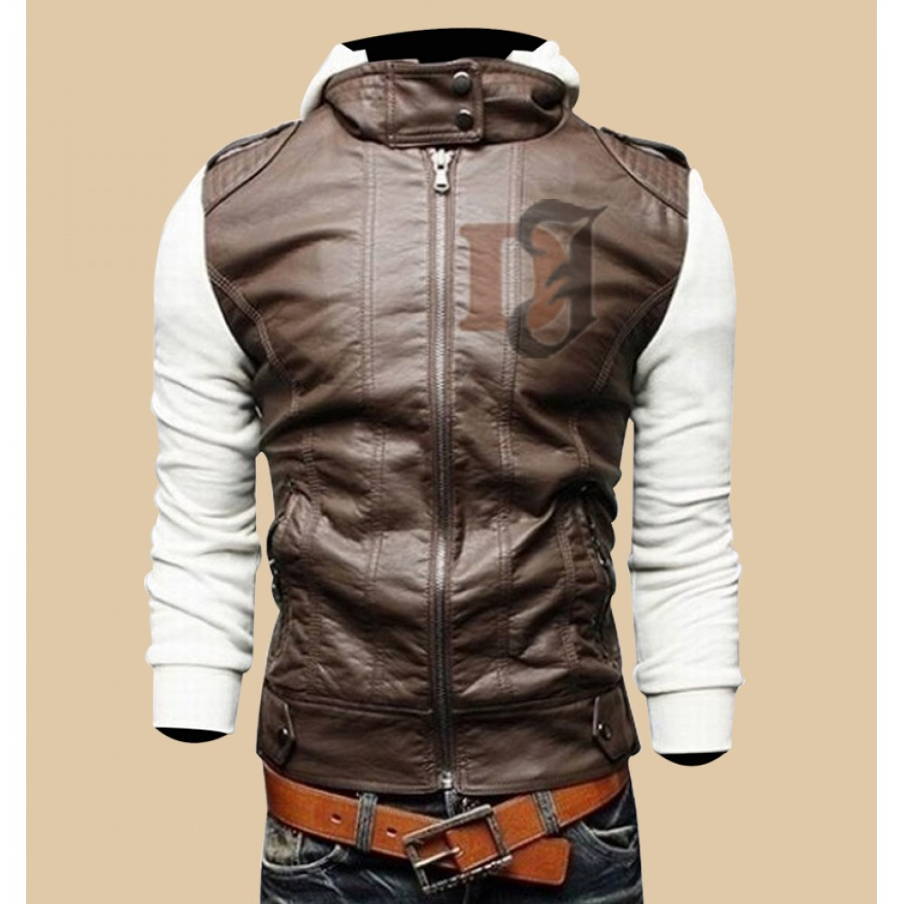 eb22ff34 Mens Brown White Slim Fit Stylish Hoodie Jacket|Slim Fit Jackets