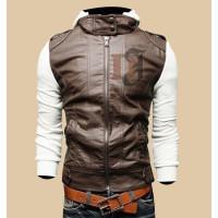 Mens Brown White Slim Fit Stylish Hoodie Jacket|Slim Fit Jackets