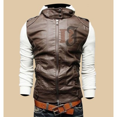 Mens Brown White Slim Fit Stylish Hoodie Jacket|Slim Fit Jackets