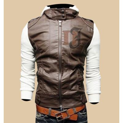 Mens Brown White Slim Fit Stylish Hoodie Jacket |Slim Fit Jackets