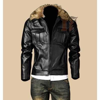 Mens Casual Stylish Pocket Fur Collar Leather Jacket | Stylish Jackets