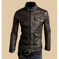 Mens Fashion Stylish Pocket Brown Leather Jacket | Dark Brown Jackets