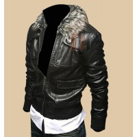 Men's Leather Biker Jacket With Faux Fur Collar | Biker Leather jacket