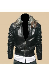 Men's Leather Biker Jacket With Faux Fur Collar | Biker Leather jacket