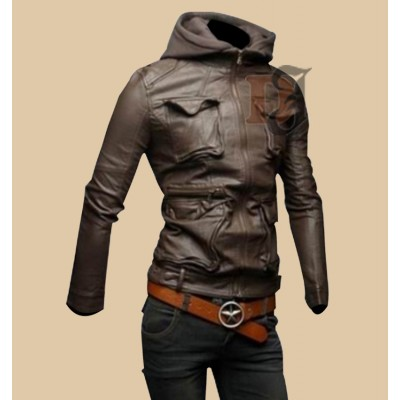 Mens Hoodie Biker Style Slim Fit Leather Jacket | Stylish Brown Leather Jacket