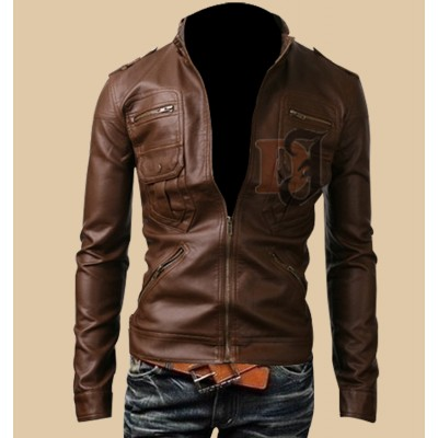 Mens Light Brown Zip Pocket Rider Leather Jacket | Light Brown Jackets