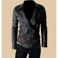 Mens Multi Pocket Biker Leather Jacket | Mens Classic Leather Motorcycle Jacket