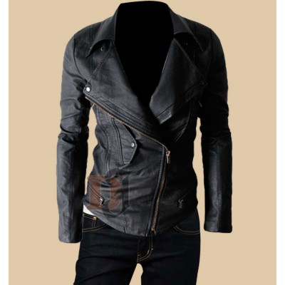 Mens Multi Pocket Biker Leather Jacket | Mens Classic Leather Motorcycle Jacket