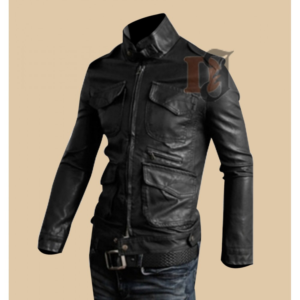 Mens Rider Stylish Pocket Black Leather Jacket | Slim Fir Jackets