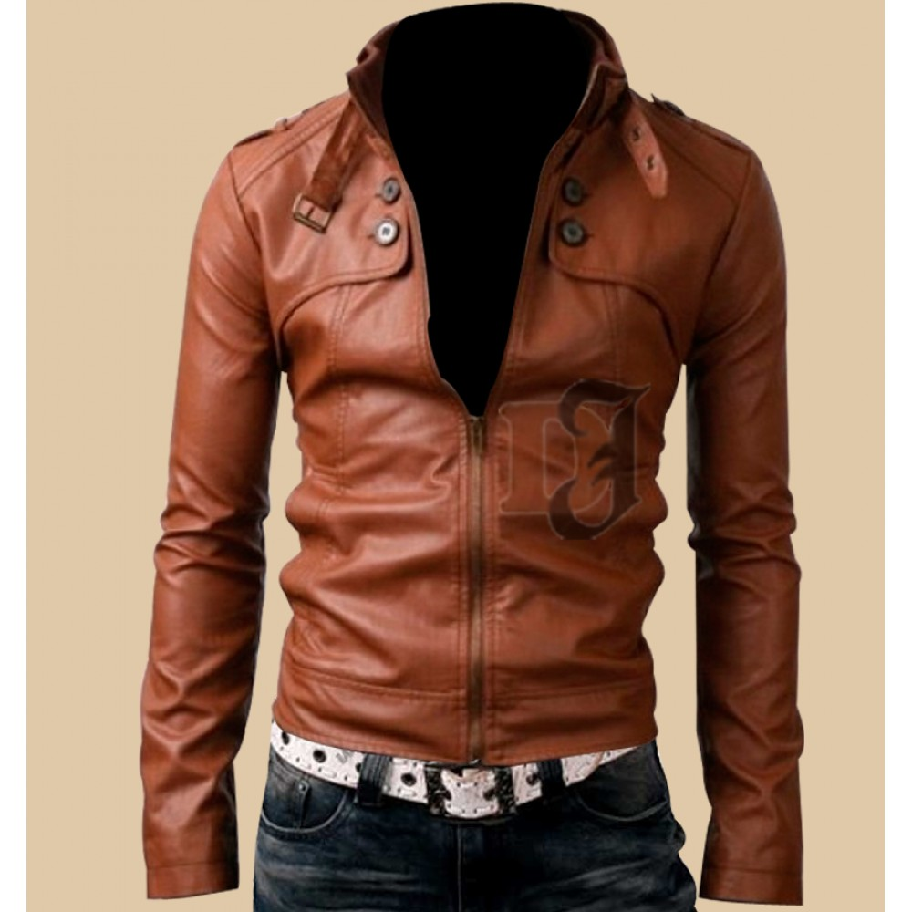 Mens Slim Fit Button Pocket Light Brown Leather Jacket | Leather Motorcycle Jackets